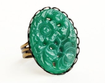 Glass Emerald Ring Large Vintage Carved Glass Jade Green Glass Ring Green Cabochon Ring Adjustable Ring Emerald Green Jewelry
