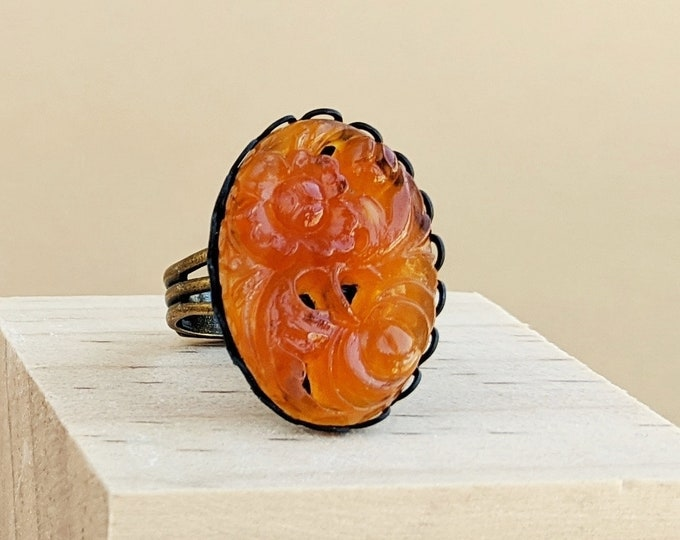 Large Orange Marmalade Ring Vintage Carved Glass Floral Ring Adjustable Marmalade Orange Ring