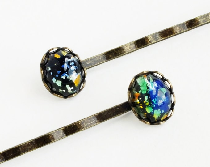 Black Fire Opal Hair Pins Iridescent Glass Vintage Bobby Pins Harlequin Fire Opal Accessories