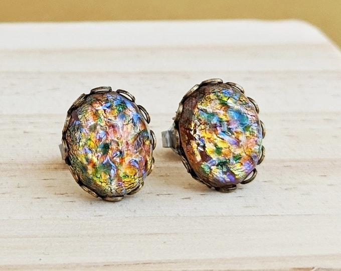 Glass Rainbow Opal Stud Earrings Large Vintage Iridescent Domed Glass Cabochons Hypoallergenic Glass Opal Post Earrings