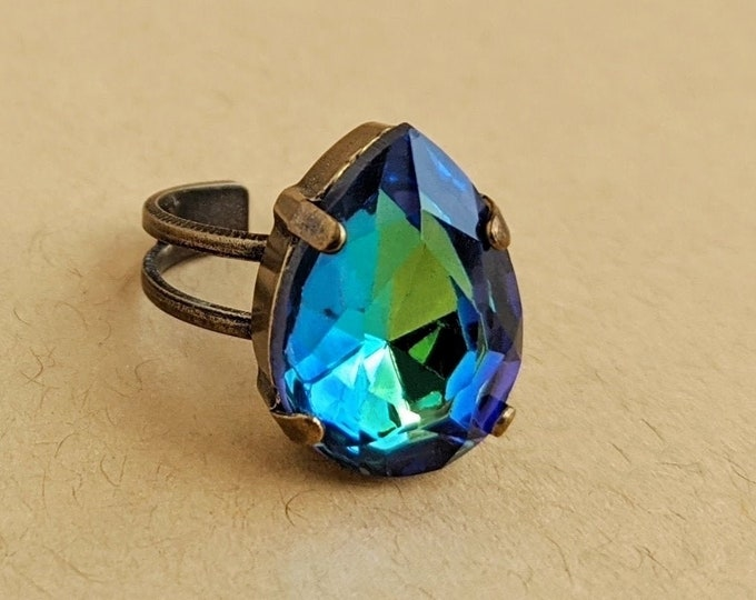 Blue Green Rhinestone Ring Vintage Crystal Ring Adjustable Vitrail Cocktail Ring Jewelry