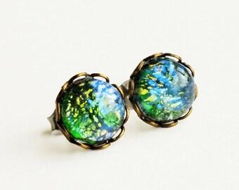 Green Glass Opal Studs Vintage Glass Harlequin Fire Opal Post Earrings Emerald Studs Hypoallergenic Iridescent Green Studs Glass Earrings