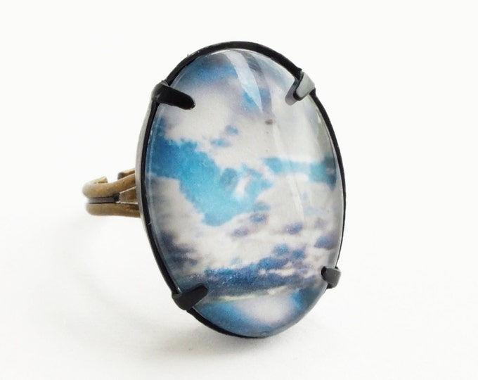 Large Blue Sky Ring Sunny Skies Photo Cabochon Jewelry Little Fluffy Clouds Ring Adjustable Ring