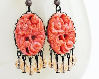 Large Coral Chandelier Earrings Vintage Carved Glass Floral Cabochon Earrings Orange Peach Coral Boho Chic Jewelry