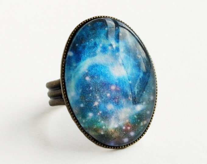 Cosmic Space Galaxy Image Ring Blue Nebula Glass Cabochon Ring Hubble Space Image Statement Astronomy Jewelry