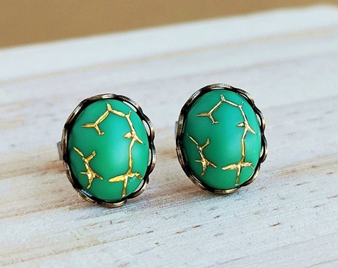 Green Glass Studs Small Vintage Gold Crackle Glass Matte Cabochon Post Earrings Hypoallergenic Studs