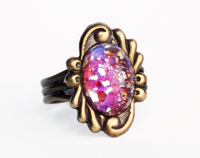 Fuchsia Pink Glass Ring Vintage Glass Red Fire Opal Ring Adjustable Antique Brass Ring Ornate Victorian Ring