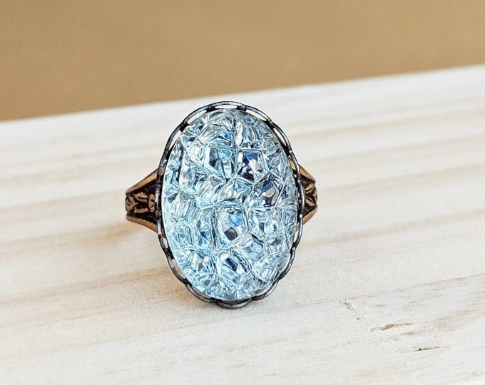 Ice Ring Vintage Clear Foiled Plastic Sugar Stone Adjustable Brass Sparkling Bumpy Crystal Ring Faux Drusy Druzy