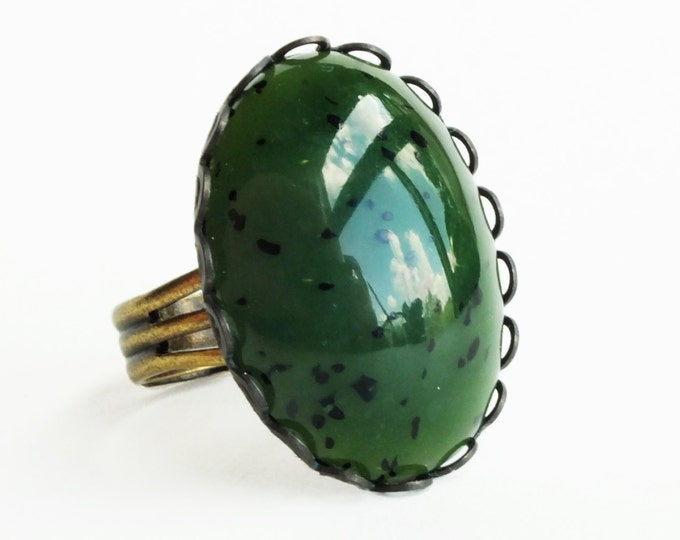 Dark Jade Green Glass Ring Large Vintage Dark Green Glass Cabochon Ring Adjustable Speckled Glass Ring Kiwi Cabochons Jewelry