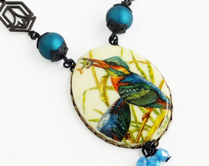 Bird Pendant Necklace Large Vintage Bird Cameo Necklace Blue Green Teal Victorian Necklace Kingfisher