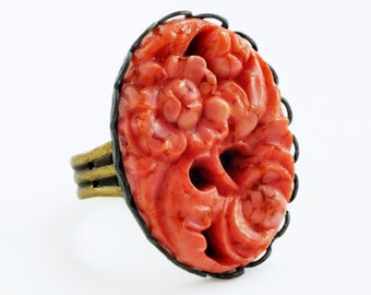 Large Glass Coral Ring Vintage Carved Coral Glass Floral Red Orange Cabochon Stone Adjustable Coral Ring