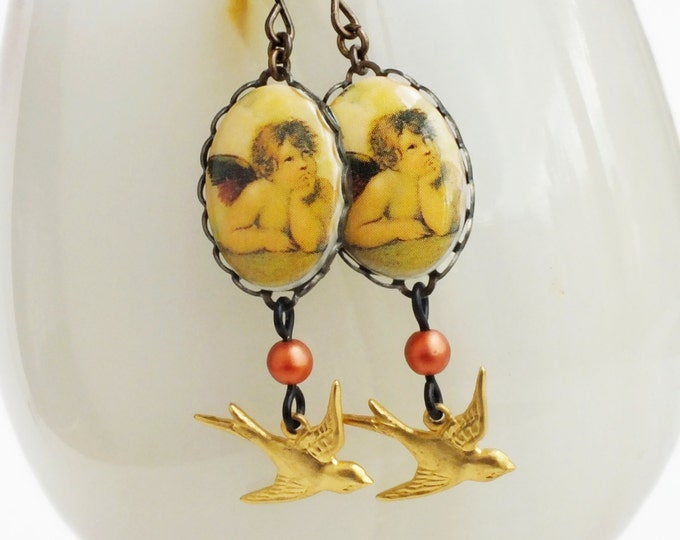 Angel Cameo Earrings Vintage Cherub Limoges Angel Jewelry Oil Painting Fine Art Lover Gifts For Her