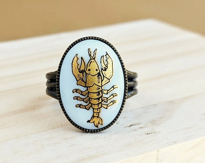 Gold Cancer Ring Vintage Milk Glass Cabochon Victorian Zodiac Astrology Scorpion Ring Vintage Cancer Jewelry July Birthday Gift