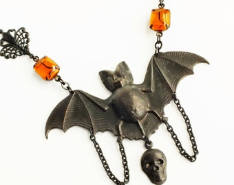 Large Statement Creepy Bat Necklace Pendant Orange Black Bat Jewelry Vintage Style Victorian Goth Jewelry