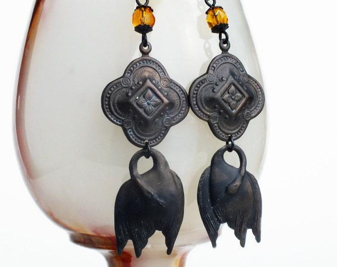 Fall Autumn Style Black Swan Dangle Earrings Antiqued Brass Black Bird Earrings Topaz Beaded Dangles Vintage Style Black Swan Jewelry Bird