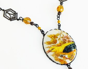 Yellow Art Deco Bird Necklace Large Cameo Pendant Vintage Yellow Finch Jewelry Yellow Bird Art Deco Jewelry