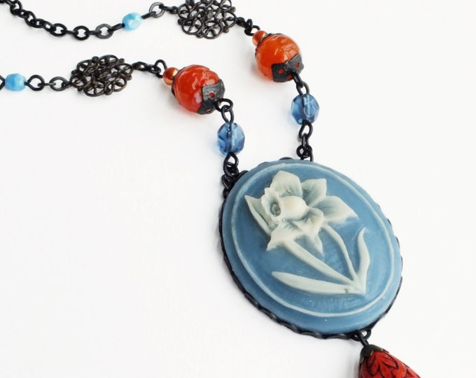 Large Blue Daffodil Cameo Necklace Orange Blue Beaded Flower Necklace Blue Orange Floral Jewelry Statement