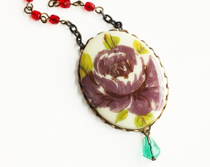 Rose Necklace Large Vintage Floral Cameo Pendant Necklace Plum Red Aqua Beaded Victorian Jewelry Purple Rose