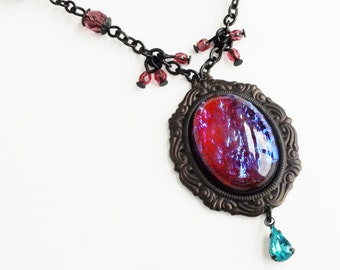 Dragons Breath Opal Necklace Vintage Mexican Opal Iridescent Red Glass Pendant Victorian Opal Jewelry