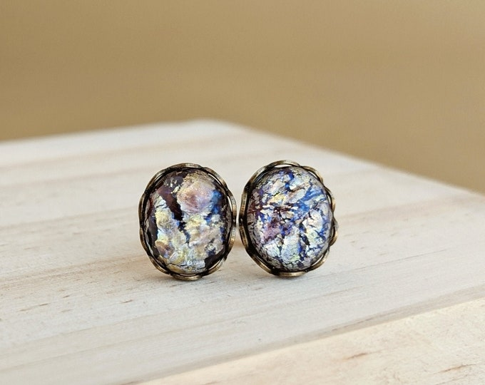 Amethyst Glass Opal Stud Earrings Vintage Amethyst Glass Opal Post Earrings Light Amethyst Opal Earrings Hypoallergenic Studs