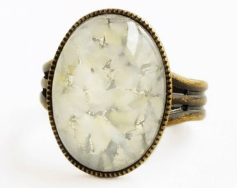 White Lampwork Glass Ring Vintage Silver Foiled Glass Ring Adjustable Antique Brass Ring White Glass Jewelry