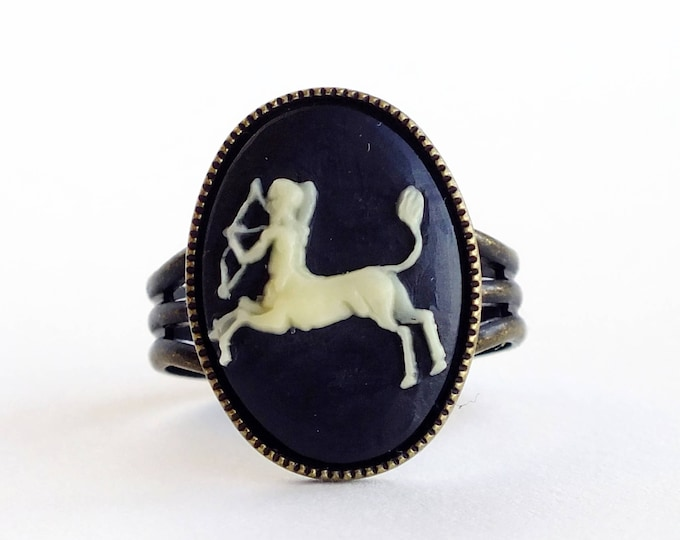 Sagittarius Cameo Ring Victorian Zodiac Astrology Sagittarius Ring Vintage Black Cameo Jewelry Adjustable Victorian Ring
