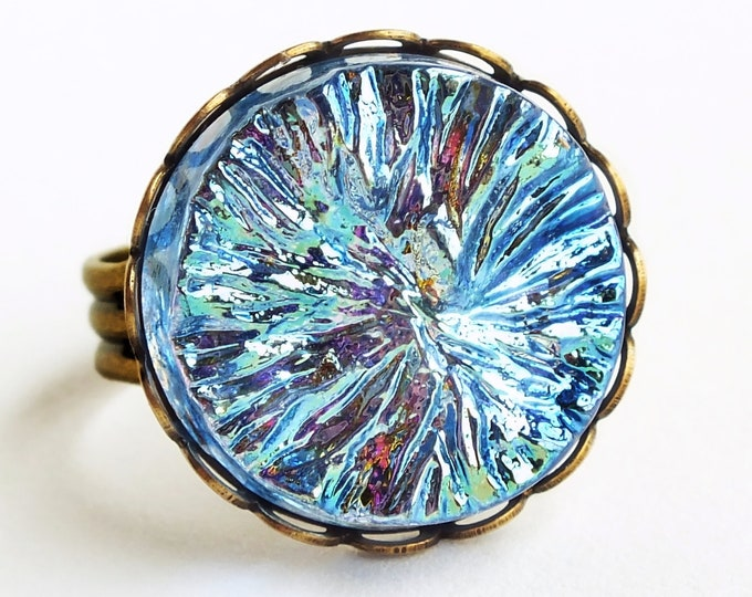 Iridescent Blue Crystal Ring Large Vintage Metallic AB Glass Ring Blue Aurora Borealis Cocktail Ring Statement Jewelry