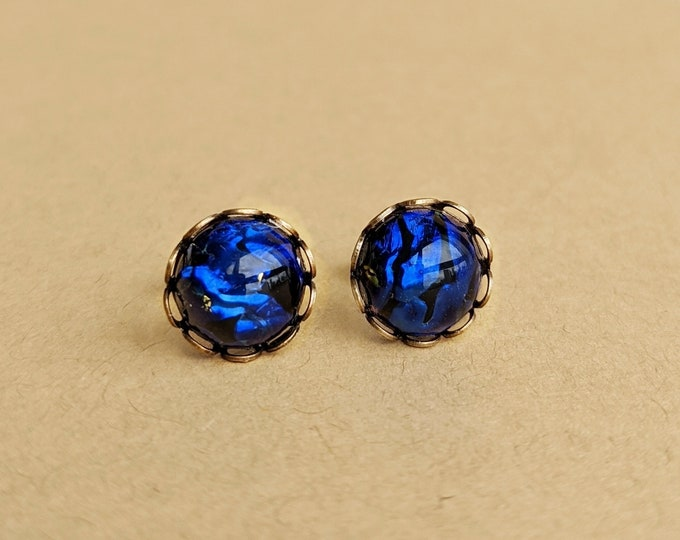 Black Glass Opal Stud Earrings Small Glass Opal Studs Vintage Black Post Earrings Black Opal Earrings Hypoallergenic Black Opal Jewelry