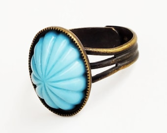 Turquoise Ring Blue Glass Ring Vintage Aqua Glass Cabochon Ring Adjustable Antique Brass Ribbed Domed Glass Ring Boho Jewelry