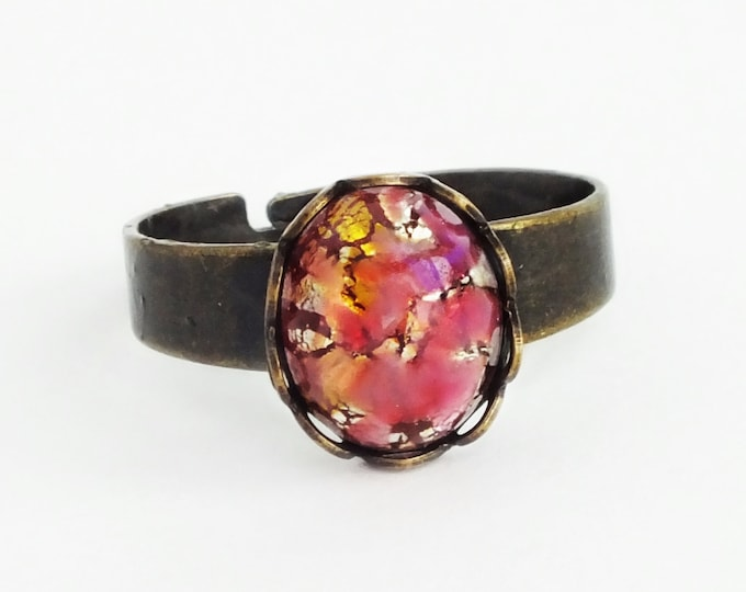 Small Pink Gold Glass Ring Glass Opal Ring Vintage Pink Glass Ring Harlequin Fire Opal Antique Brass Adjustable Victorian Jewelry