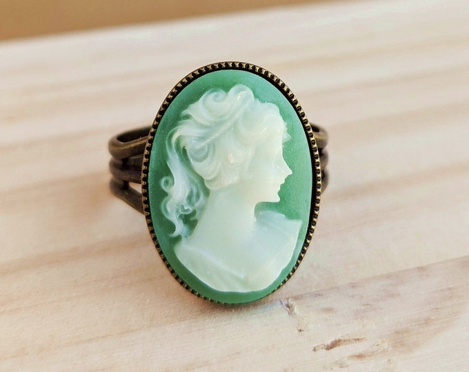 Green Cameo Ring Vintage Sage Green Victorian Portrait Ring Adjustable Victorian Cameo Green Jewelry