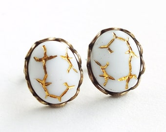 White Glass Studs Vintage Gold Crackle Matte Glass Post Earrings White Studs Hypoallergenic White Gold Jewelry