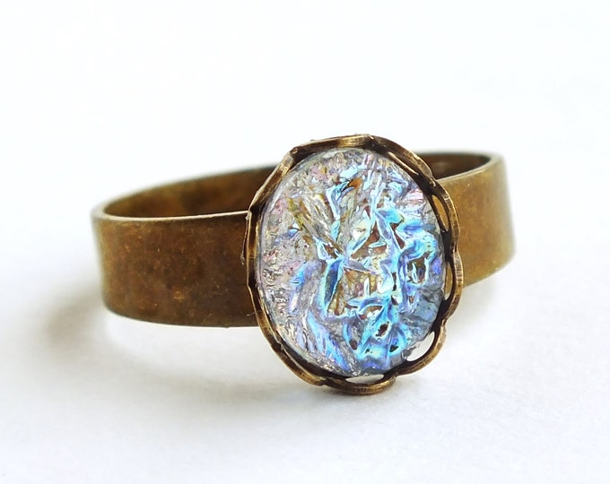 Small Iridescent Crystal Ring Vintage Iridescent Blue Glass Sugar Stones Ring Light Blue Glass Druzy Ring