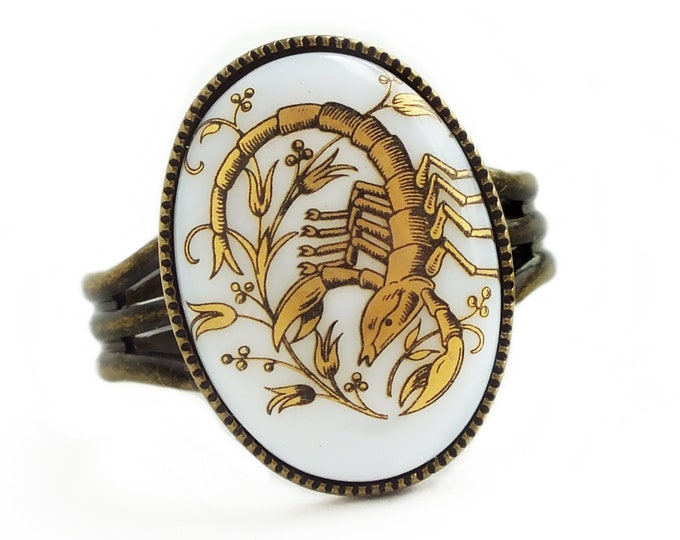 Gold Scorpio Ring Vintage Milk Glass Cabochon Victorian Zodiac Astrology Scorpion Ring Vintage Scorpio Jewelry November Birthday Gift