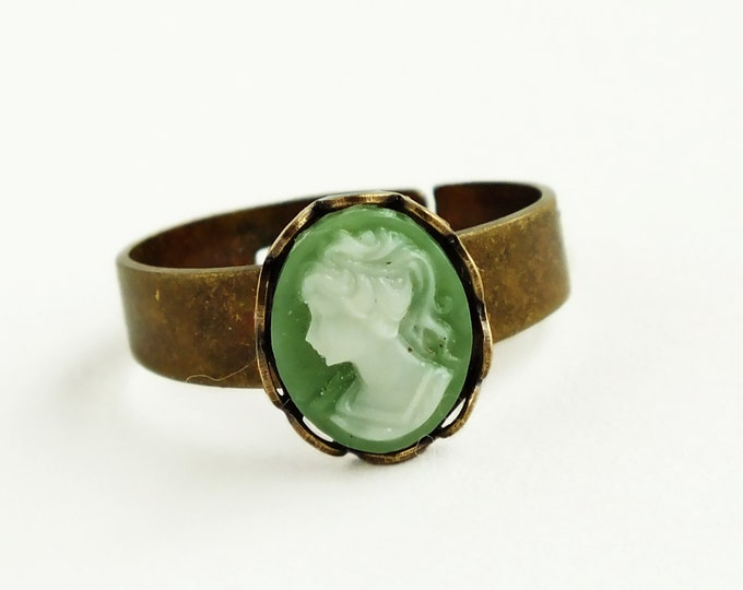 Green Cameo Ring Vintage Victorian Resin Cameo Jewelry Adjustable Antique Brass Green Stacking Ring Victorian Jewelry