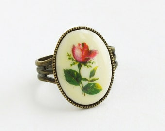 Rose Ring Vintage Flower Cameo Floral Limoge Brass Band Victorian Red Rose Cameo Romantic Victorian Style Gift For Her
