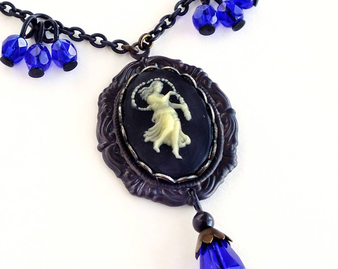 Virgo Zodiac Cameo Necklace Vintage Black Astrology Cameo Pendant Jewelry Virgo Victorian Astrology Black Blue Necklace