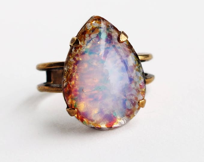 Pink Glass Opal Ring Vintage Glass Harlequin Fire Opal Ring Pink Lavender Ring Adjustable Victorian Opal Jewelry Pastel Pink Ring