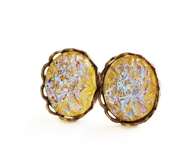 Iridescent Yellow Sugar Stone Earrings Iridescent Yellow Crystal Studs Small Vintage Glass Faux Druzy Crystal Stud Earrings