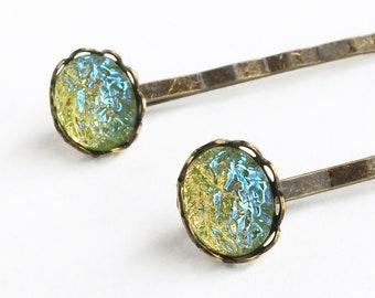 AB Green Glass Hair Pins Vintage Faux Glass Druzy Bobby Pins Green Glass Drusy Accessories Peridot Green Hair Pin Glamorous Crystal