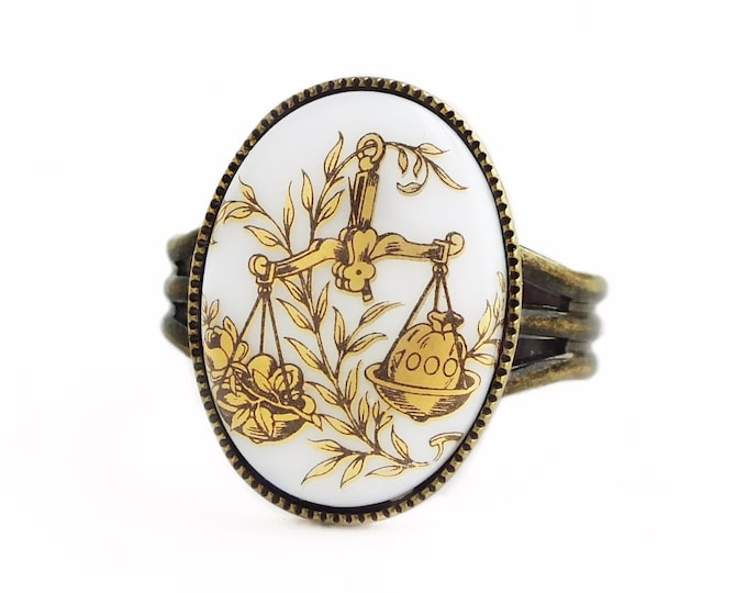 Black Gold Libra Ring Vintage Glass Libra Cameo Victorian Ring Zodiac Astrology Ring Vintage Libra Jewelry