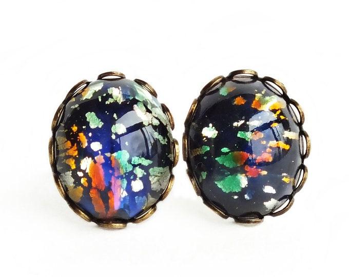 Black Glass Opal Earrings Rainbow Stud Earrings Large Vintage Iridescent Glass Studs Hypoallergenic Rainbow Opal Post Earrings