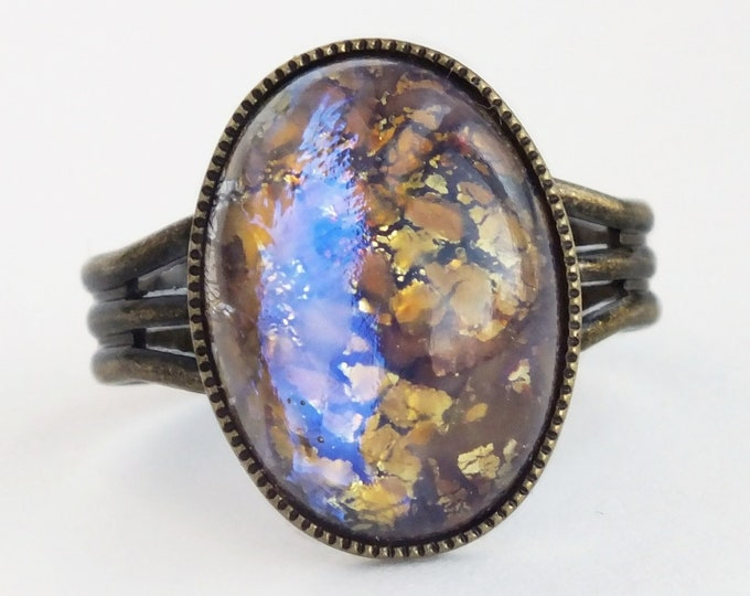 Topaz Glass Fire Opal Ring Vintage Glass Ring Topaz Ring Glass Opal Ring Harlequin Fire Opal Iridescent Ring