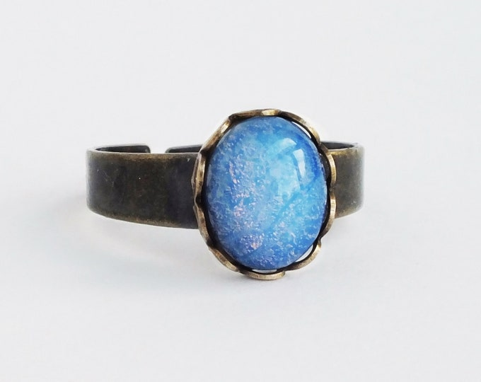 Small Blue Glass Opal Ring Vintage Glass Harlequin Fire Opal Ring Adjustable Light Blue Ring Opal Jewelry