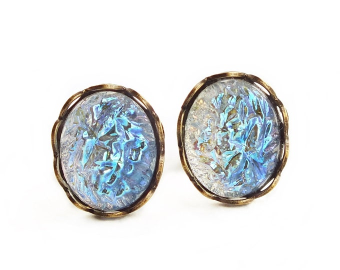 Iridescent Light Blue Studs Small Vintage Glass Druzy Crystal Stud Earrings Iridescent Blue Sugar Stone Earrings