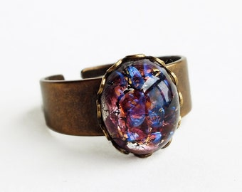 Amethyst Glass Opal Ring Small Vintage Glass Harlequin Fire Opal Adjustable Ring Glass Amethyst Ring Iridescent Glass Opal Jewelry