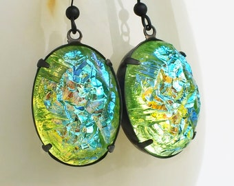 Large Iridescent Green Statement Earrings AB Green Druzy Statement Jewelry Vintage Faux Drusy Earrings Colorful Glamorous Statement Earrings