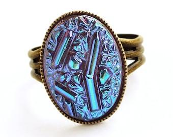 Iridescent Purple Crystal Ring Rare Vintage Glass Druzy Ring Iridescent Glass Ring Statement Jewelry