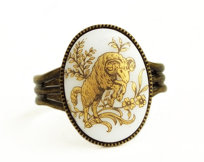 Black Gold Aries Ring Vintage Glass Zodiac Jewelry Cameo Aries Ring Zodiac Aries Gift for Her