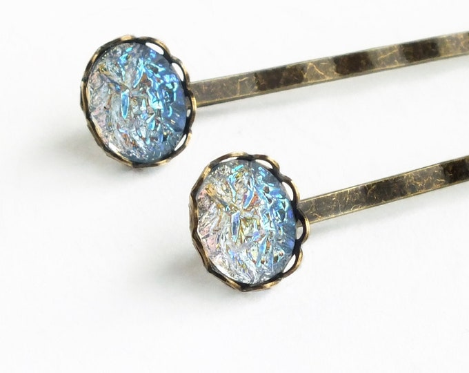 Iridescent Light Blue Hair Pins Vintage Faux Glass AB Druzy Bobby Pins Blue Drusy Accessories AB Blue Hair Pin Glamorous Crystal
